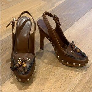 Authentic Gucci Tassel Bamboo slingback heel sz 6